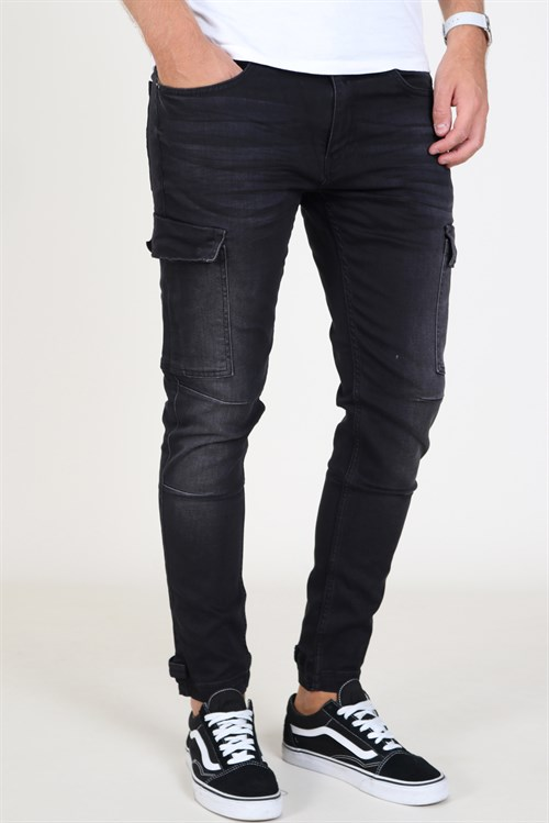 Liebhaveri Tobias Stretch Cargo Pants Black Washed