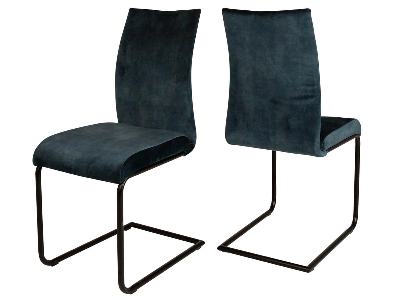 CANETT Clipper spisebordsstol - petrol bl velour og mat sort jern