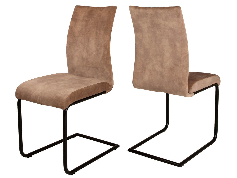 CANETT Clipper spisebordsstol - beige velour og mat sort jern