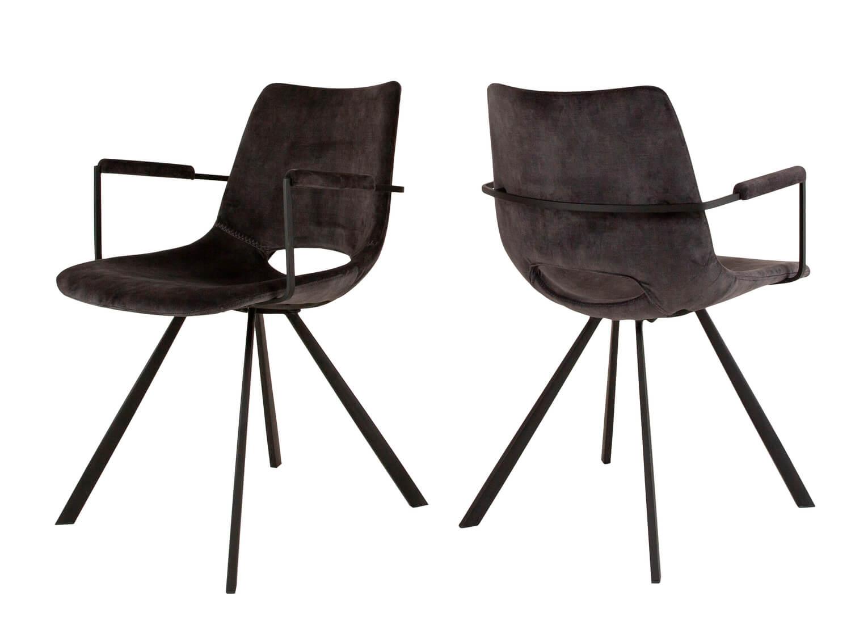 CANETT Coronas spisebordsstol - antracitgr velour og sort jern, m. armln