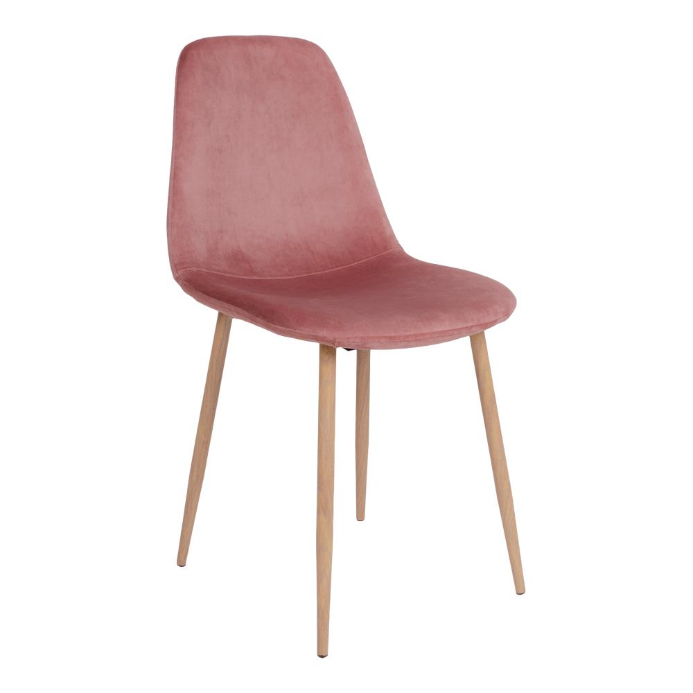 HOUSE NORDIC Stockholm spisebordsstol - rosa/brun velour/metal