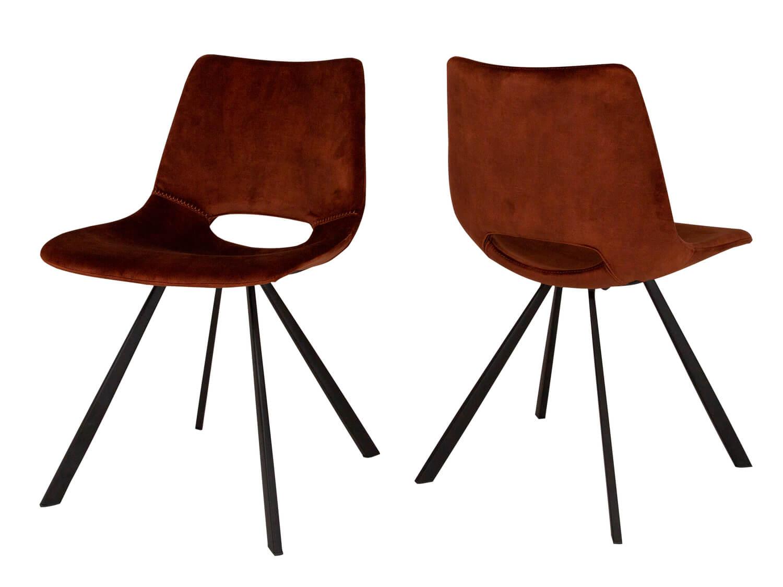 CANETT Coronas spisebordsstol - kobberfarvet velour og sort jern, u. armln
