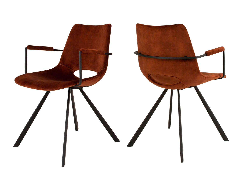 CANETT Coronas spisebordsstol - kobberfarvet velour og sort jern, m. armln