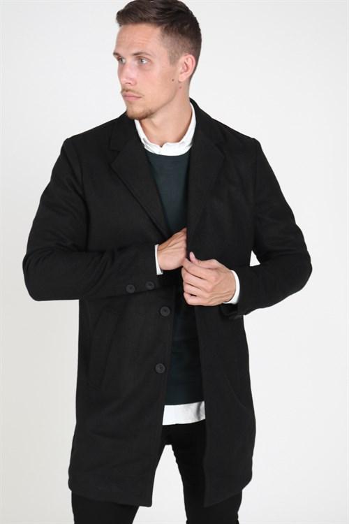 Solid Fayette Faux Wool Frakke Black