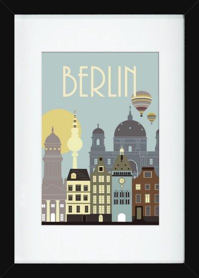 Hoei - Berlin Plakat Inkl. Ramme - Wonderful Capital - 60X80 Cm - Sort
