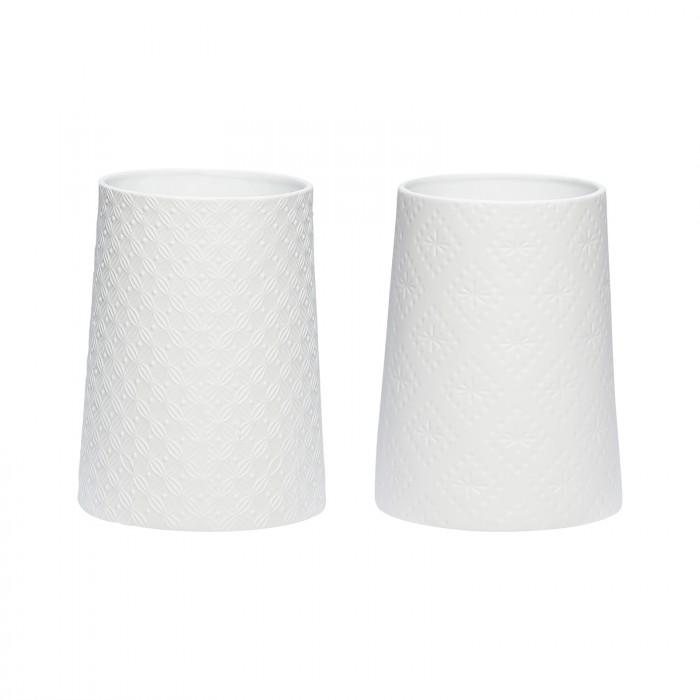 Hübsch fyrfadsglas porcelæn hvid stk 2