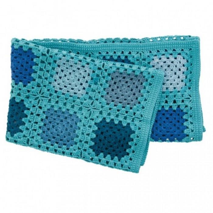 Hæklet babytæppe (blå)