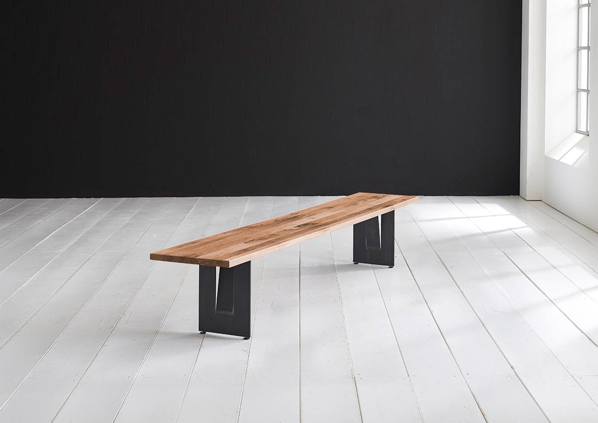 BODAHL Concept 4 You spisebordsbænk - massiv egetræ m. Steven ben 260 x 40 cm 6 cm 06 = old bassano