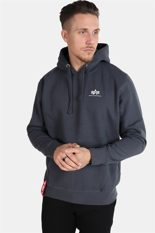 Alpha Industries Basic Hoodie Small Logo Grey Black