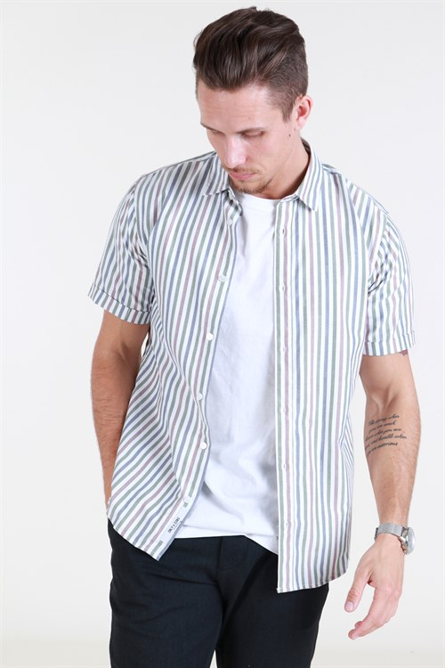 Only & Sons SS Y/D Striped Skjorte Cloud Gray