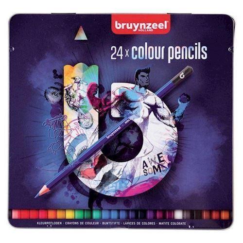 Bruynzeel - Tin Farveblyanter, Mørk 24 stk