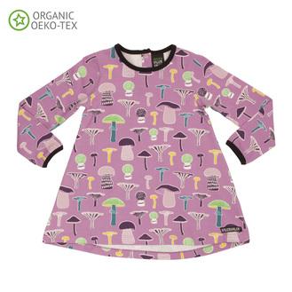 VillerValla - langærmet tunika kjole med svampe motiv i lyserød