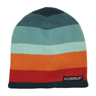 VillerValla - Strikket hat med fleece, stribet i blå/orange nuancer