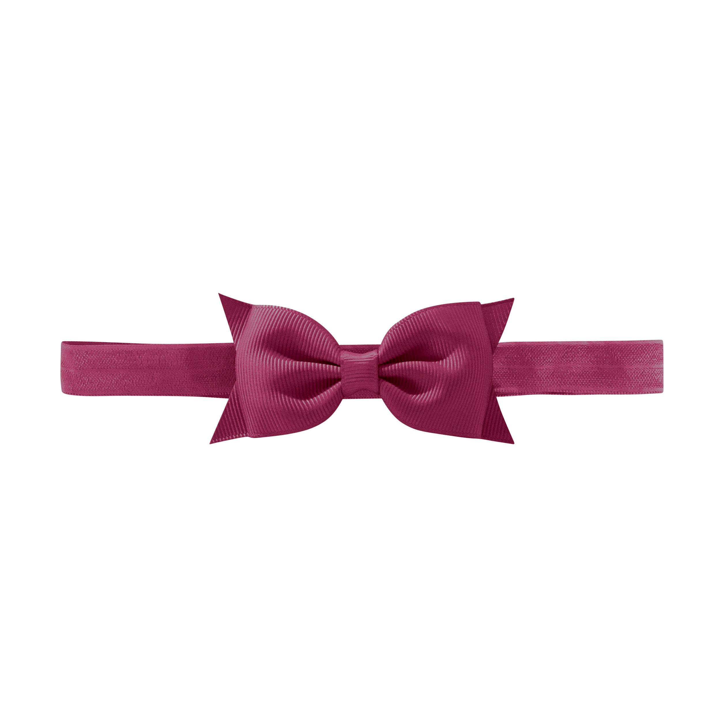 Milledeux Double Bowtie bow - elastic hairband - raspberry rose