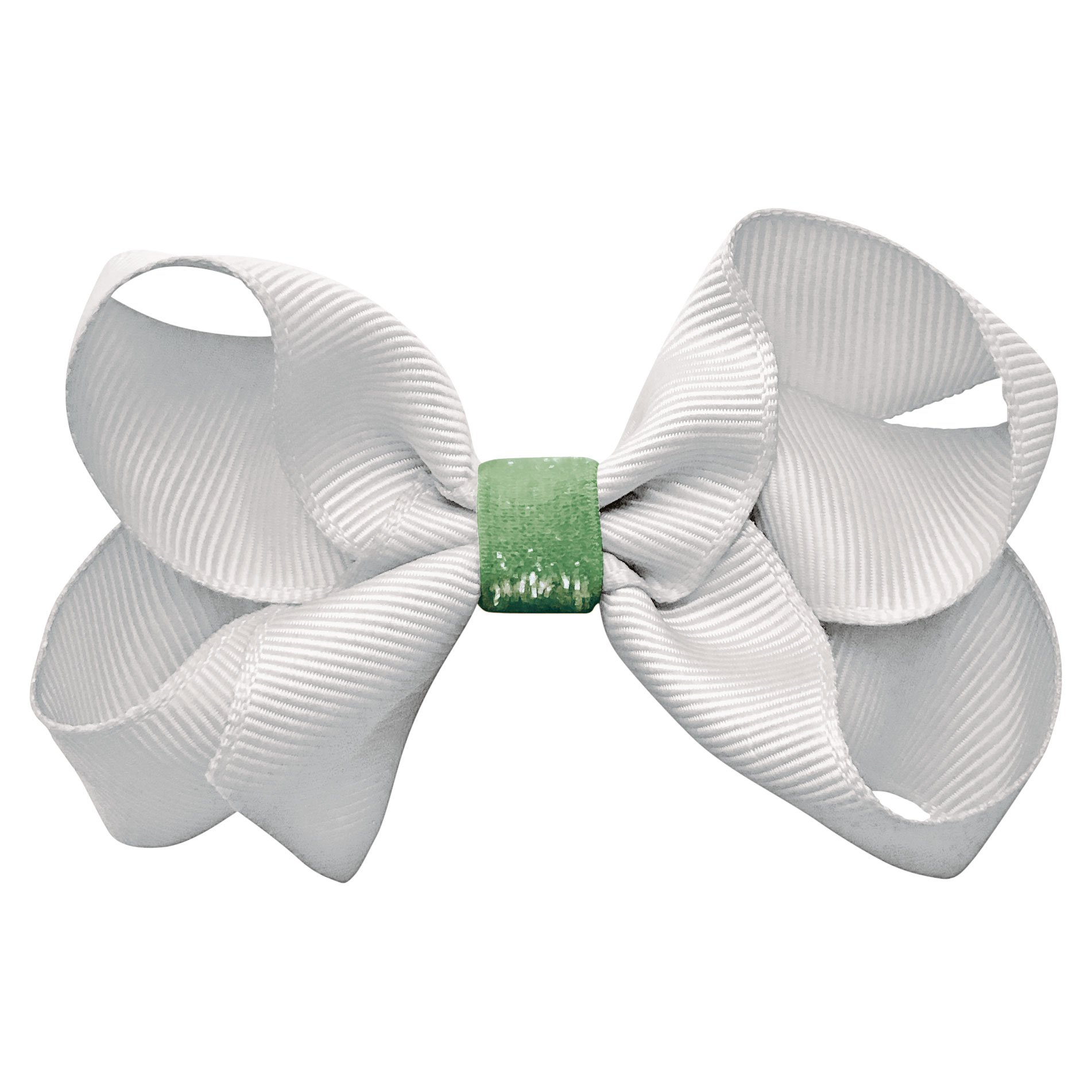 Medium boutique bow - alligator clip - white / bud green colored glitter middle