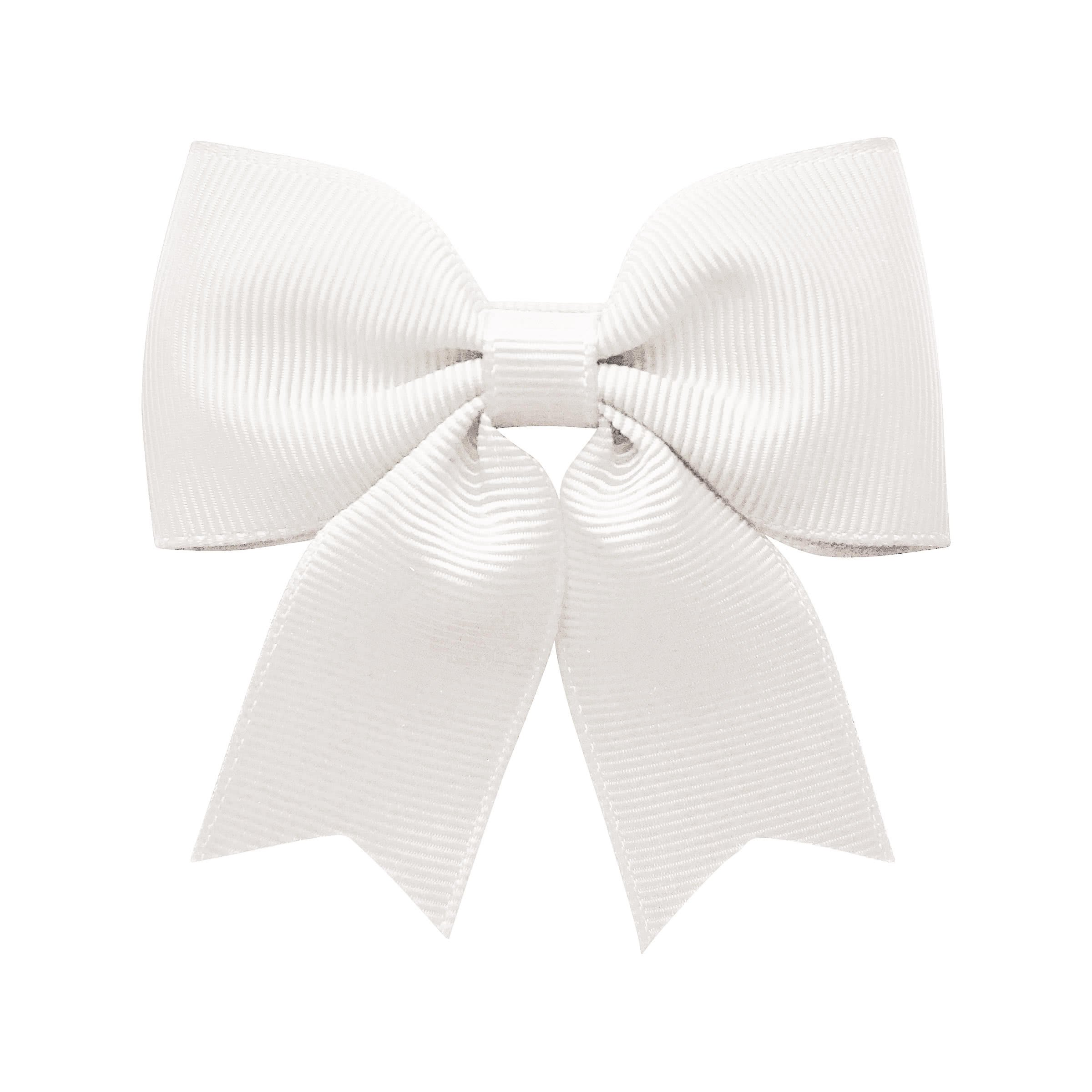 Medium bowtie bow w/ tails - alligator clip - white