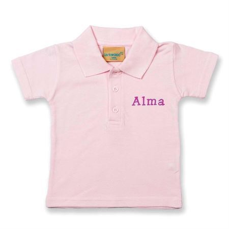 Polo shirt med navn - lyserød