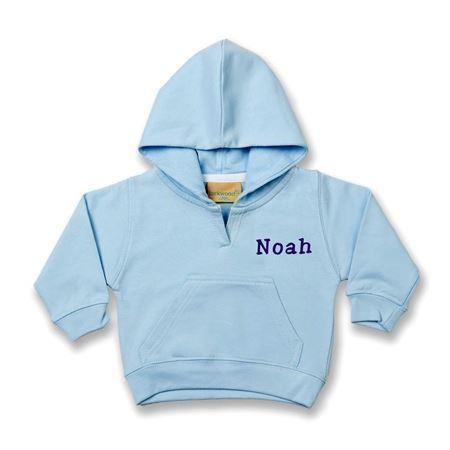 Sweatshirts med navn - lysblå 0-6 mdr