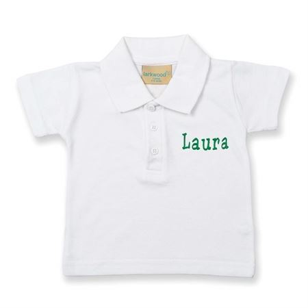 Polo shirt med navn - Hvid 0-6 mdr