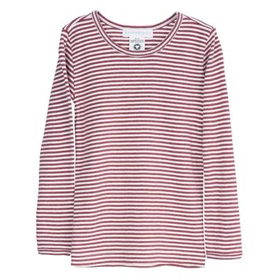 Serendipity bluse m/striber, langærmet - Cayenne/Offwhite