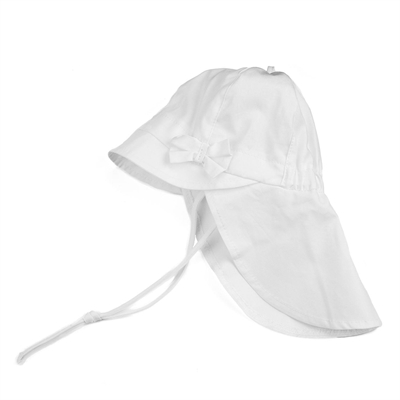 Pure Pure solhat m/ sløjfe og nakkeskygge - White