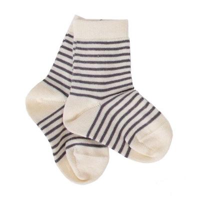 Strømper i øko bomuld, striped grå - Iobio
