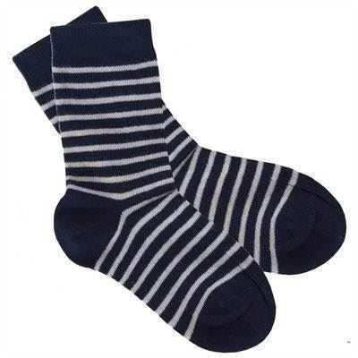 Strømper i øko bomuld, striped navy - Iobio