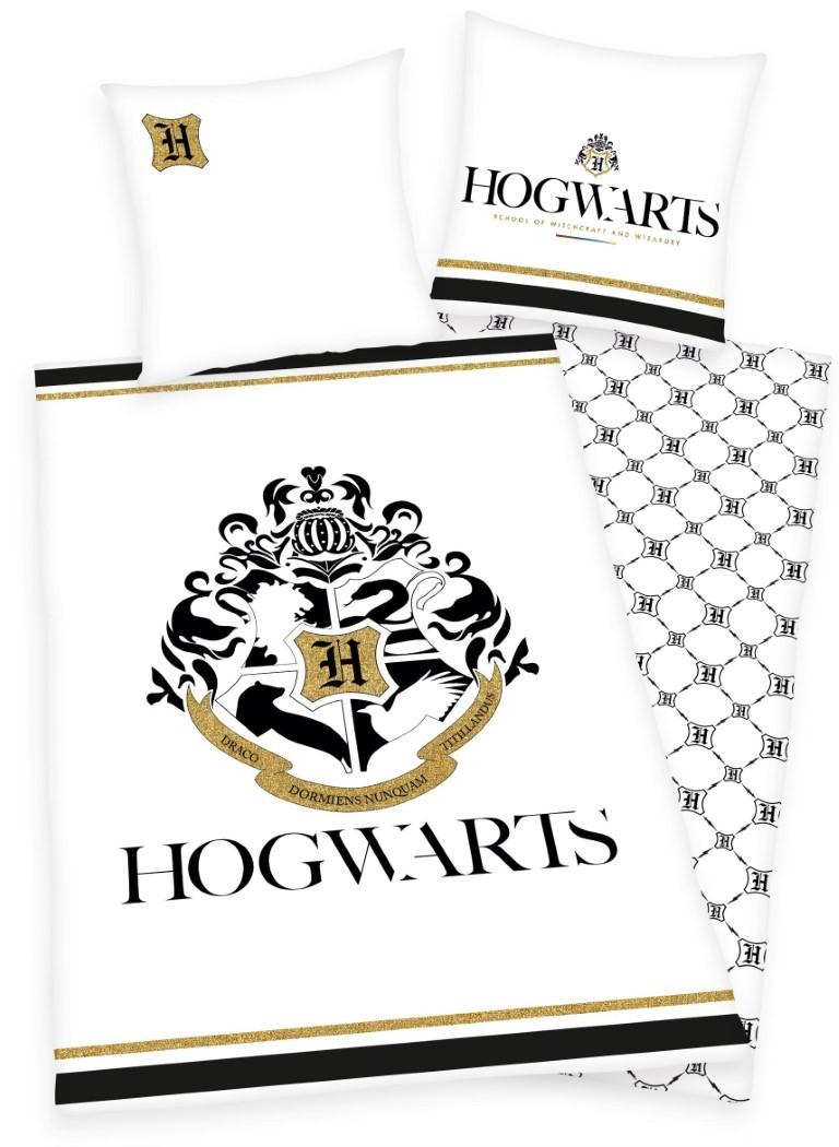 Harry Potter Hogwarts Sengetøj med guldprint - 100 procent bomuld