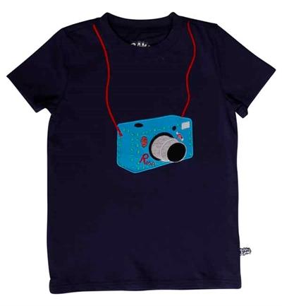 Mørkeblå Rosa Spion Kamera T-Shirt Fra Ramasjang Kluns