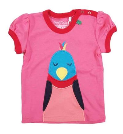 Pink/Rød T-shirt Med Fugl Fra Freds World