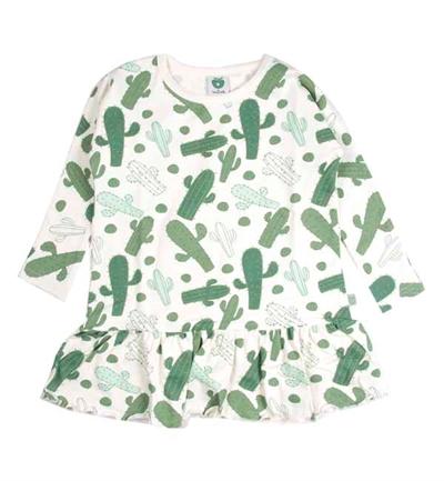 Offwhite/Grøn Kaktus Kjole Fra Småfolk