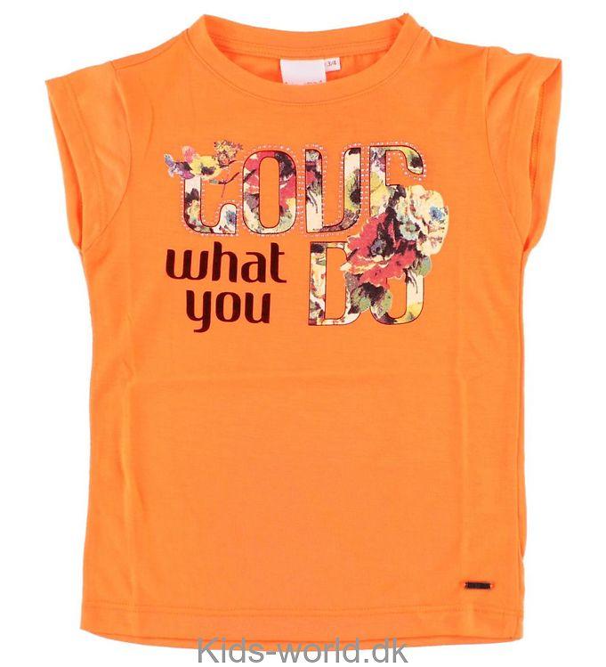 Koin T-shirt - Neonorange m. Blomster