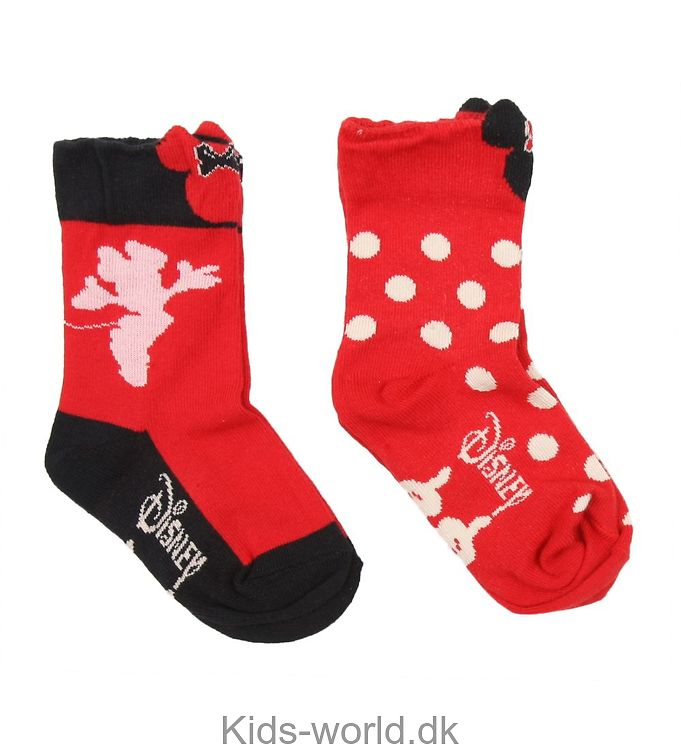 Melton 2-pak Strømper - Rød m. Minnie Mouse