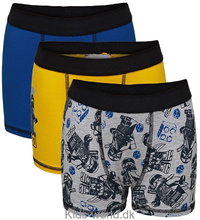 Lego Ninjago Boxershorts - 3-pak - Gul/Blå/Grå m. Print