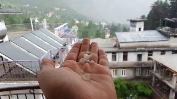 Pebble-sized hailstones in mid-June.