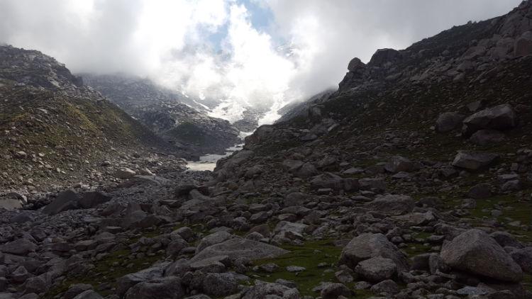 A Himalayan Glacier at the Indrahar Pass.