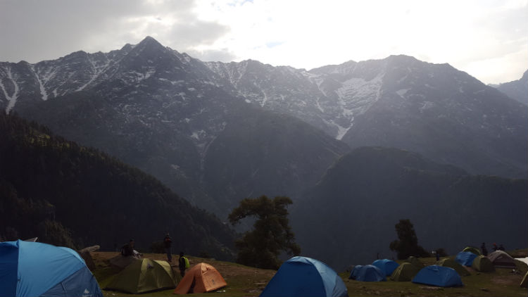 5,500 meter-high mountains seen from the Triund campsite above McLeod Ganj.