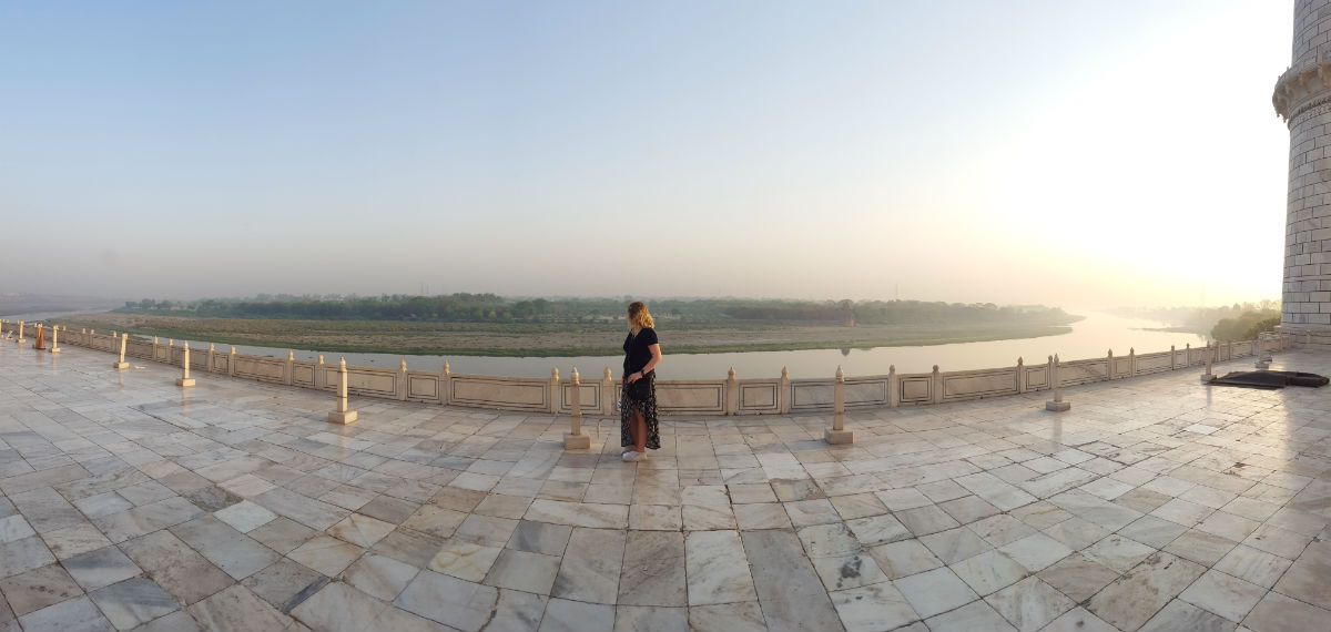 At the backside of the Taj Mahal, overlooking Mehtab Bagh