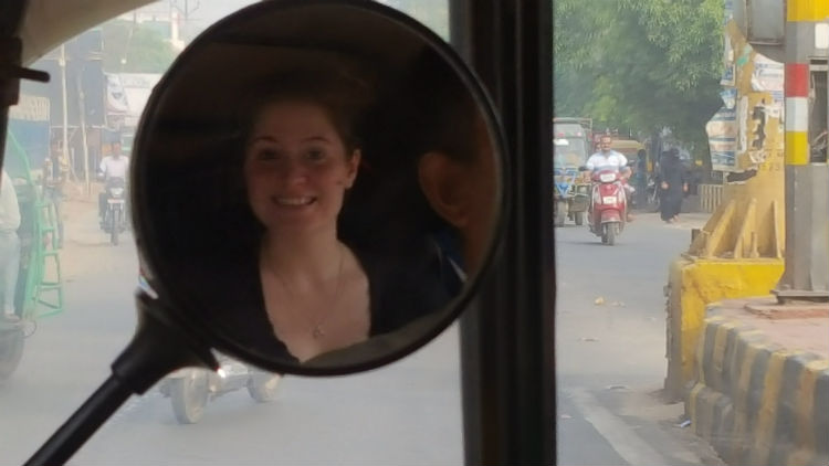 Happy and content in a rickshaw, most of the time.