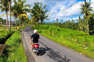 Riding a Motorbike in Bali