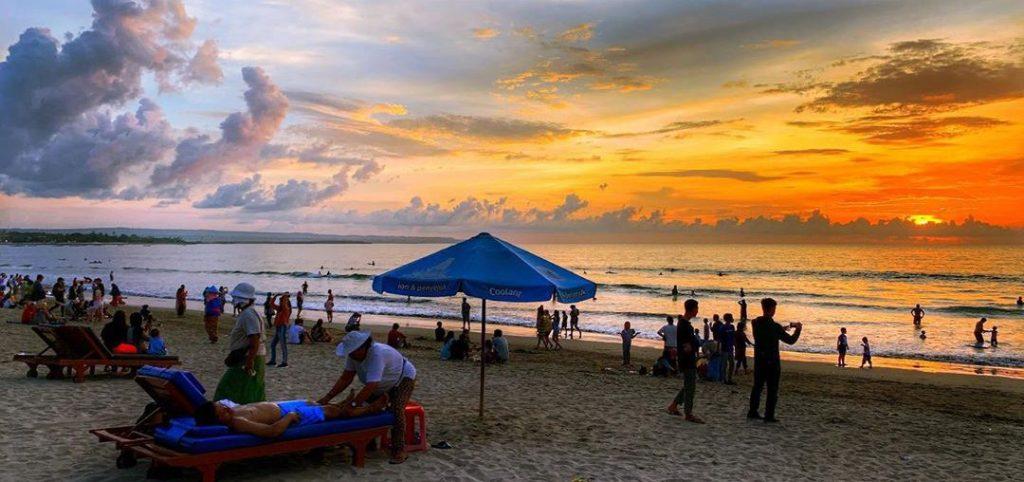 Sunset in Kuta Beach, bali