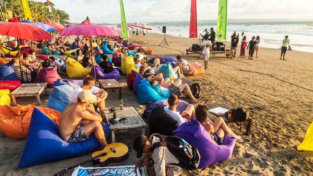 Peak season in one of the beaches in Bali