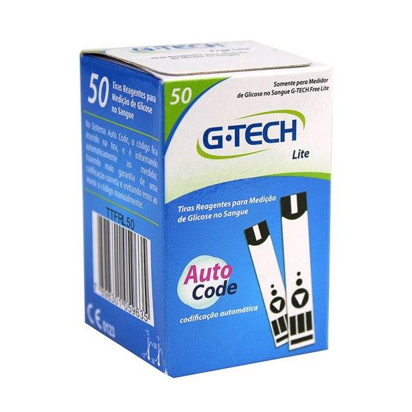 50 Tiras Reagentes G-tech Free Lite Teste De Glicemia Cor:Branco