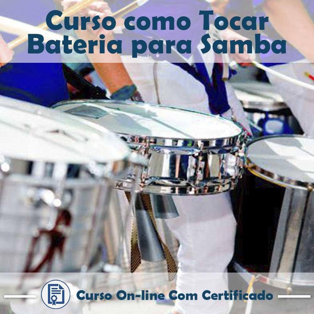 Curso online em videoaula sobre como tocar Bateria para Samba com Certificado