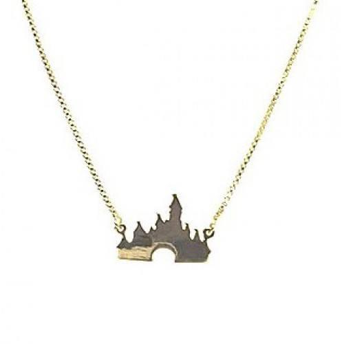 Gargantilha Castelo da Disney, Folheado a Ouro 18k