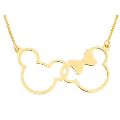 Gargantilha Minnie e Mickey, Folheada a Ouro 18k