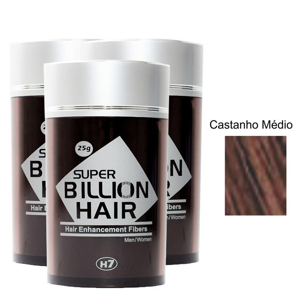 Kit 03 Maquiagem pra Calvície Billion Hair - Cast Médio 25g