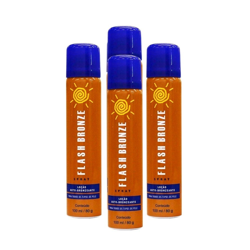 Kit 04 Flash Bronze Spray Auto Bronzeador A Jato 100ml