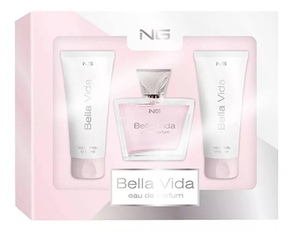 Kit de Perfume Feminino Bella Vida importado da Holanda composto por 03 itens da marca NG Perfumes