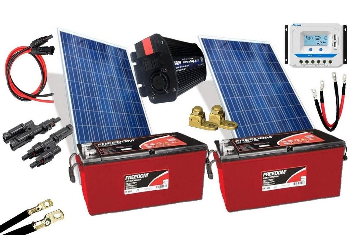 Kit Gerador de Energia Solar 300Wp - Gera até 870Wh/dia
